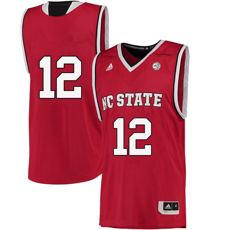 Men #12 Allerik Freeman NC State Wolfpack College Basketball Jerseys-Red