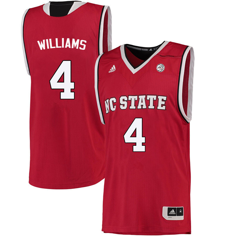 Men NC State Wolfpack #4 Ashley Williams College Basketball Jerseys-Red