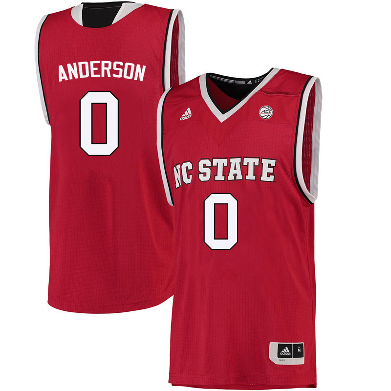 Men NC State Wolfpack #0 Camille Anderson College Basketball Jerseys-Red
