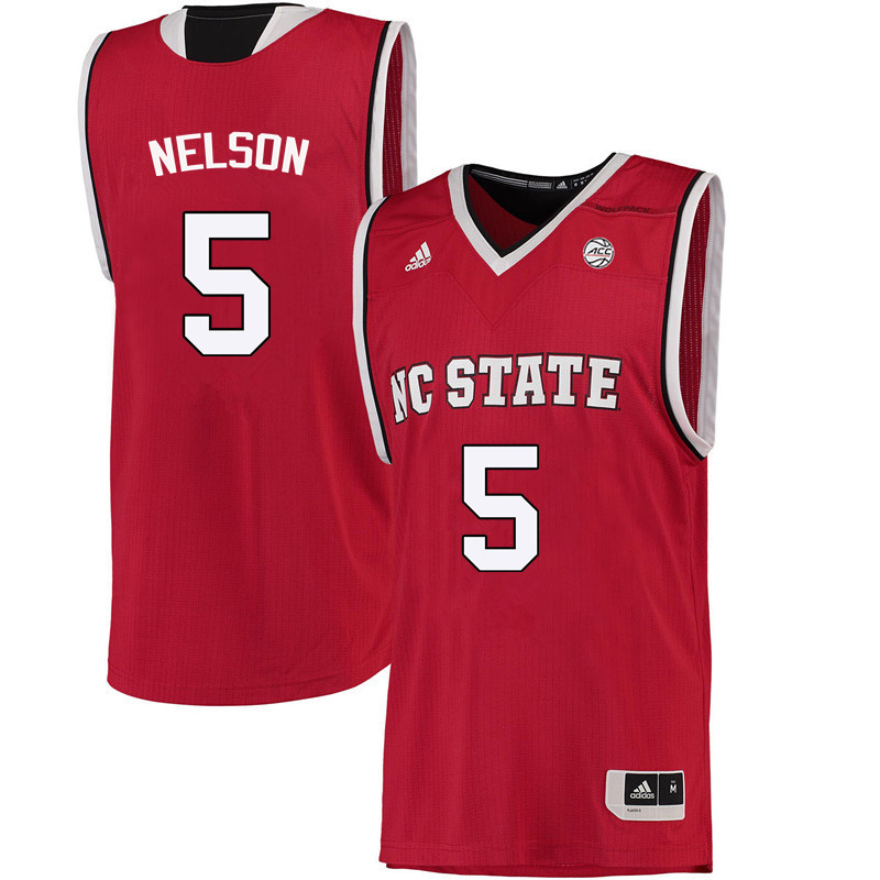 Men NC State Wolfpack #5 Chelsea Nelson College Basketball Jerseys-Red