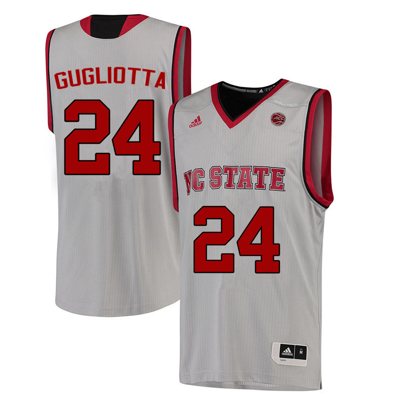 Men NC State Wolfpack #24 Tom Gugliotta College Basketball Jerseys-White